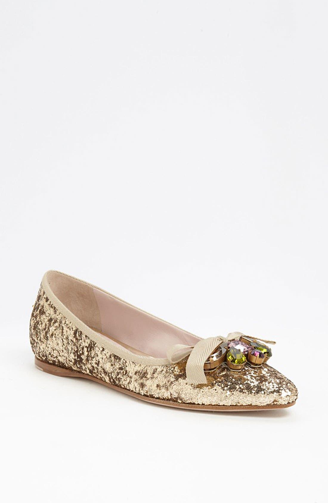 Main Image - Miu Miu Jeweled Pointy Toe Flat
