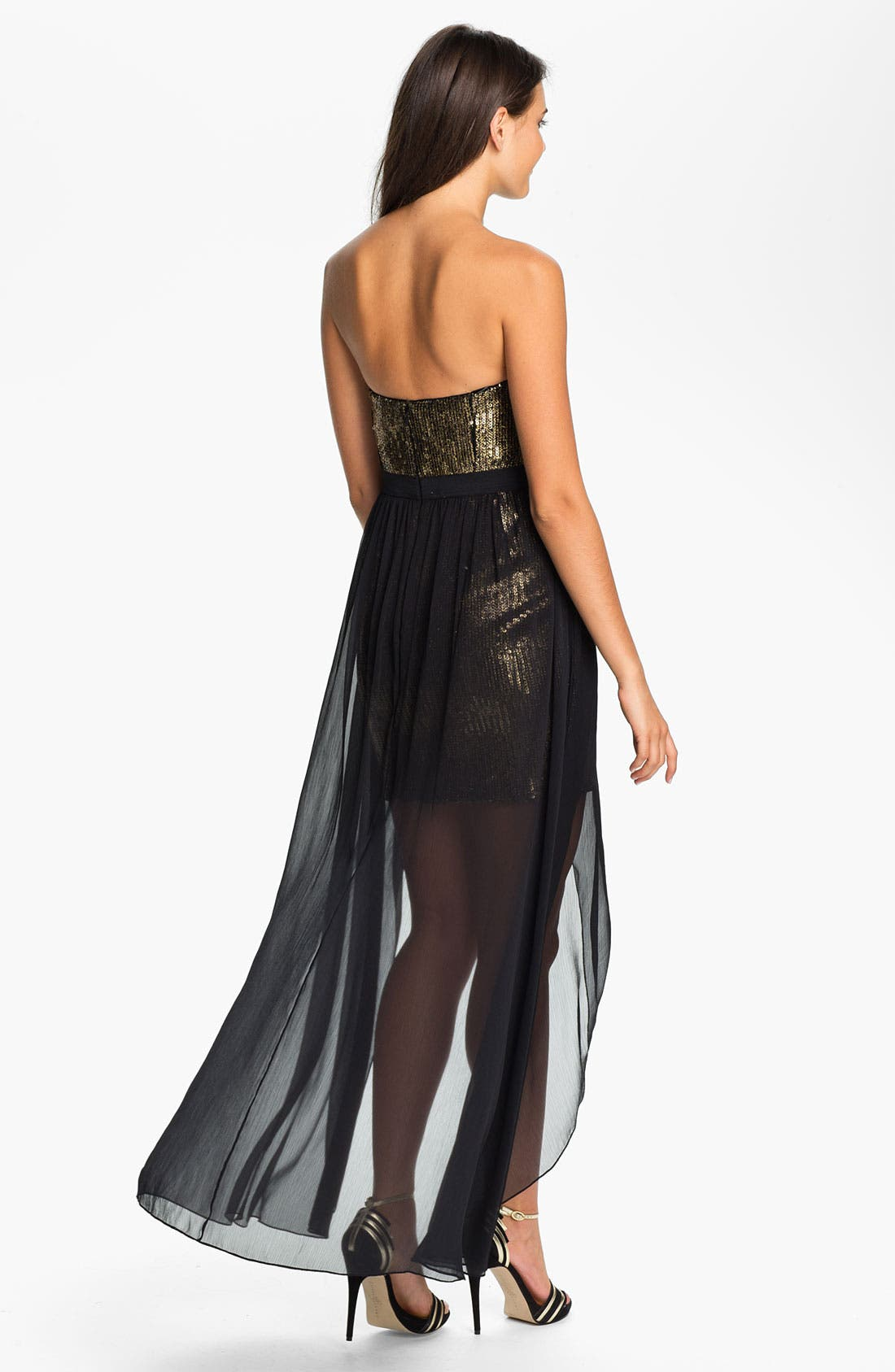 Alternate Image 2  - Aidan Mattox High/Low Chiffon Overlay Sequin Dress
