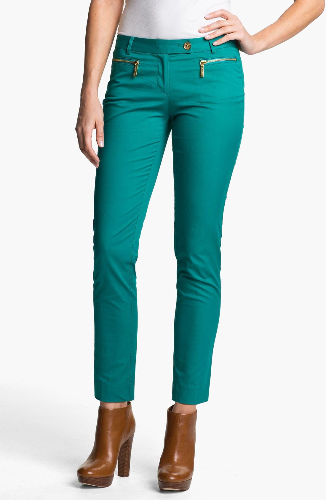 Main Image - MICHAEL Michael Kors Zip Pocket Ankle Pants (Petite)