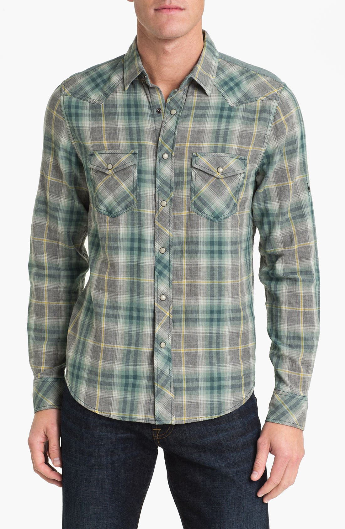 Main Image - Vintage Red Plaid Woven Western Shirt