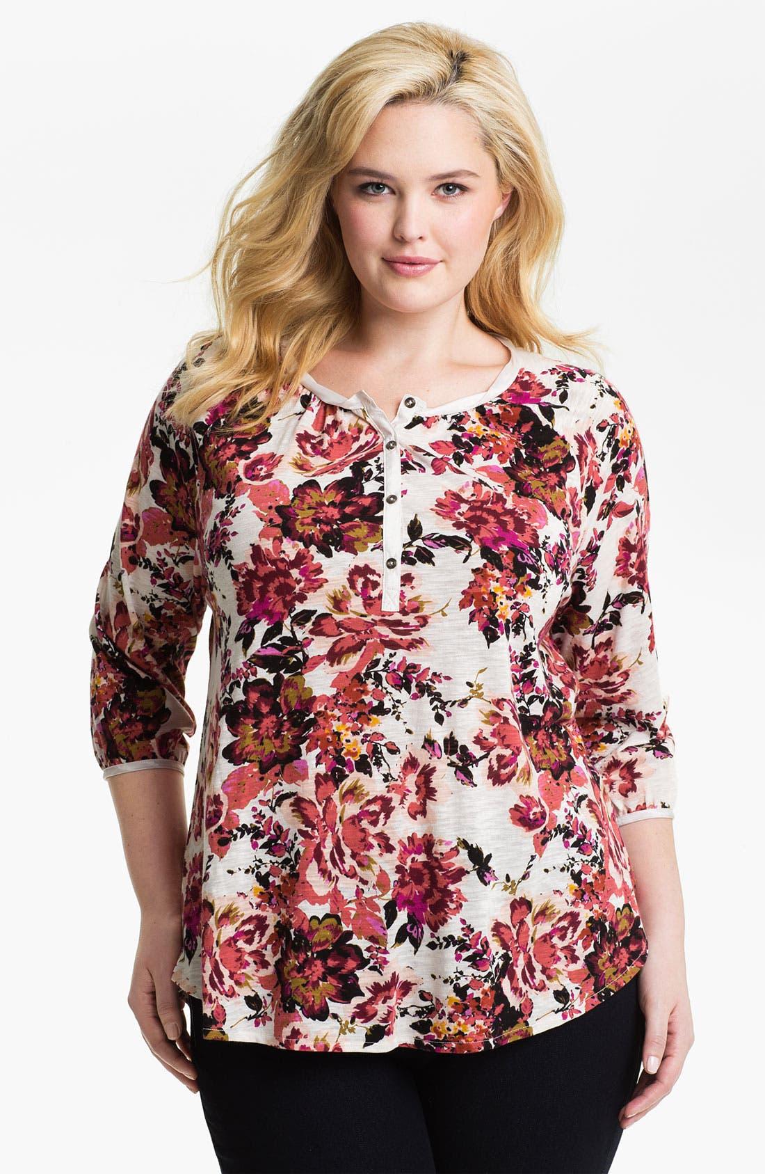 Main Image - Lucky Brand 'Painterly Rose Kara' Top (Plus)