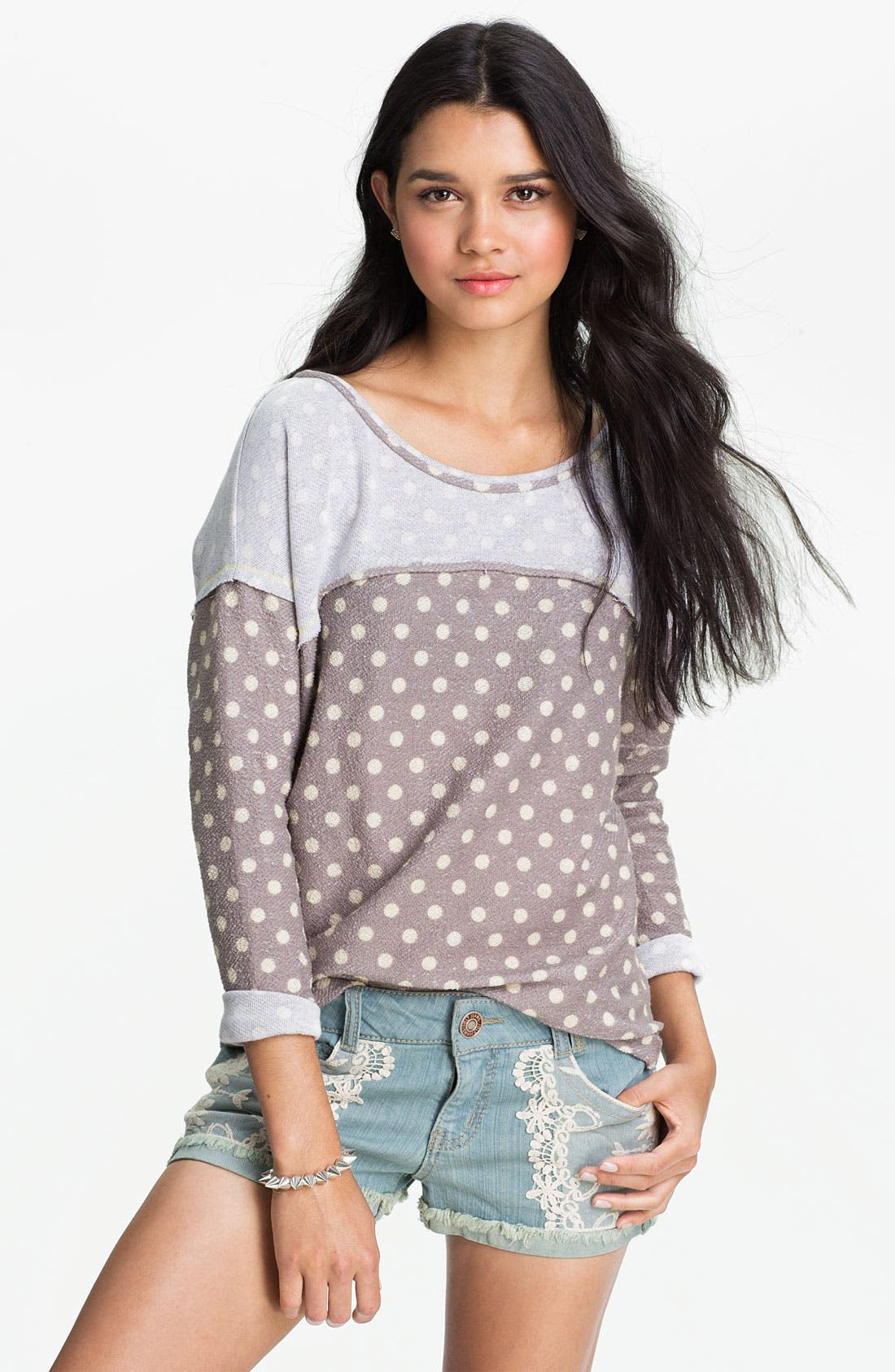 Alternate Image 1 Selected - Lush Polka Dot Reverse Terry Top (Juniors)