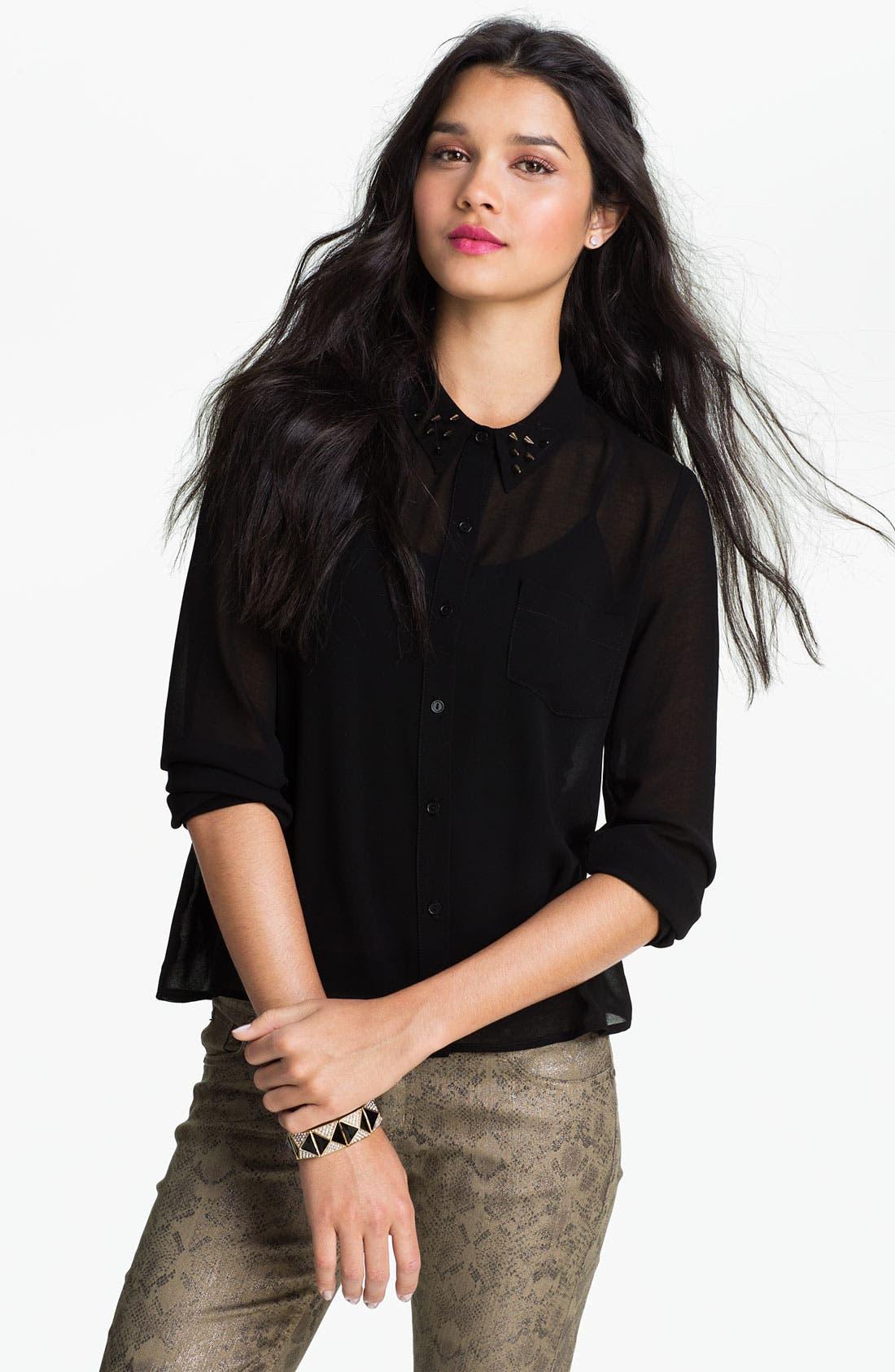 Main Image - Elodie Stud Collar Sheer Shirt (Juniors)