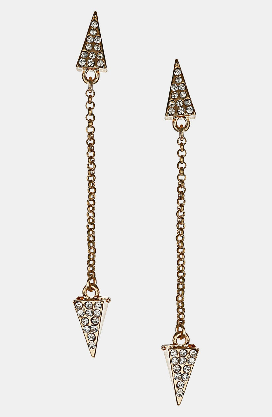 Main Image - Topshop 'Rhinestone Arrow' Drop Earrings