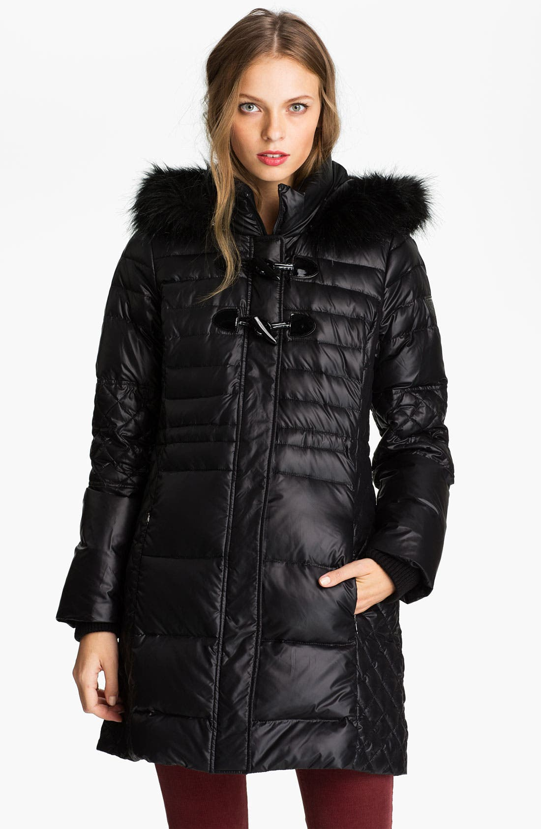 Alternate Image 1 Selected - GUESS Quilted Coat with Faux Fur Trim (Online Exclusive)