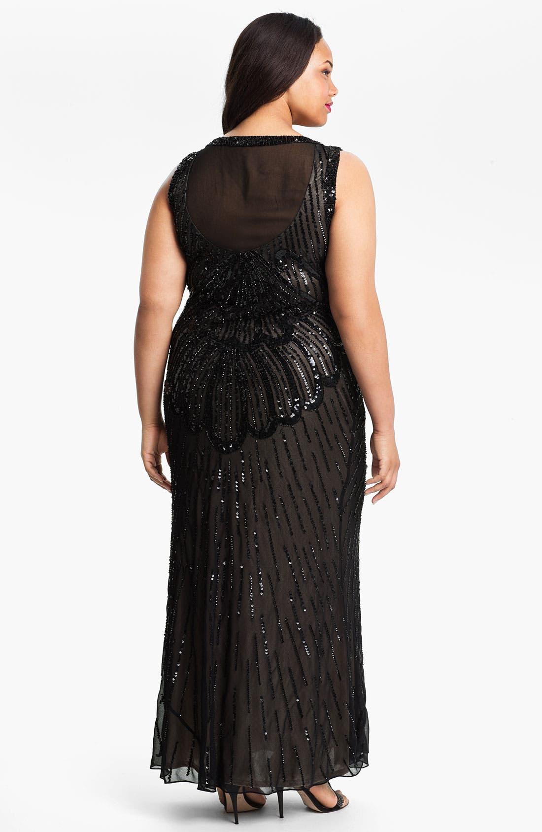 Alternate Image 2  - JS Collections Beaded Sleeveless Dress (Plus)