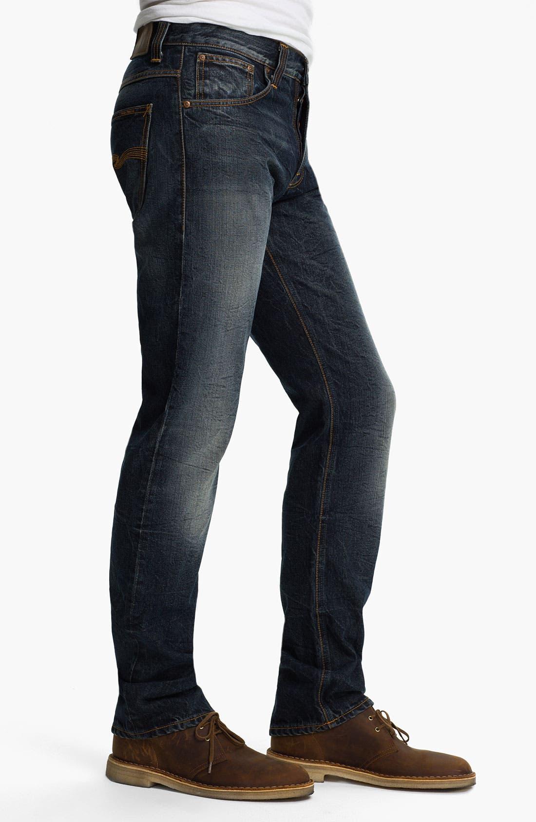 Alternate Image 3  - Nudie 'Average Joe' Straight Leg Jeans (Organic Thorough Indigo)