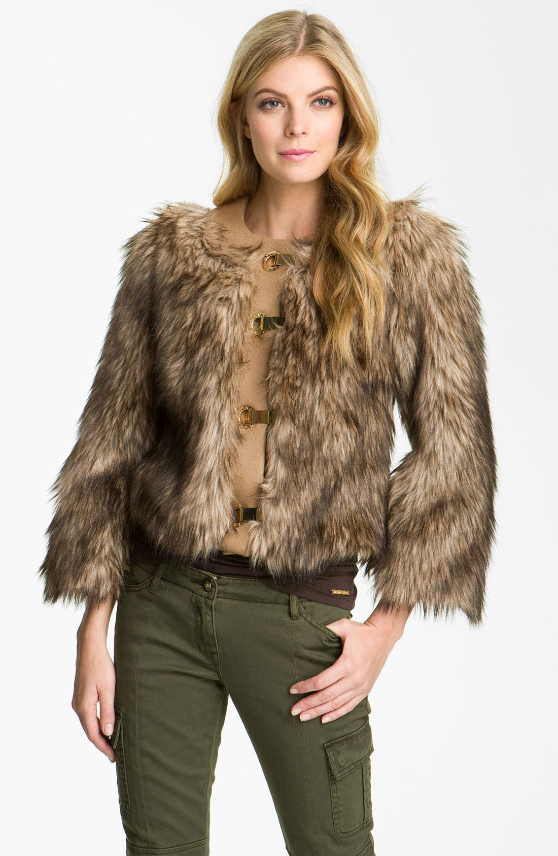 Alternate Image 1 Selected - MICHAEL Michael Kors Faux Coyote Fur Jacket