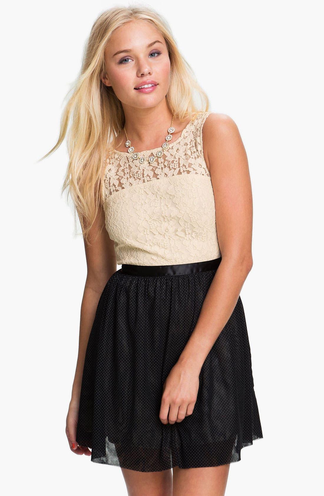 Alternate Image 1 Selected - Frenchi® Lace Bodice Dress (Juniors)