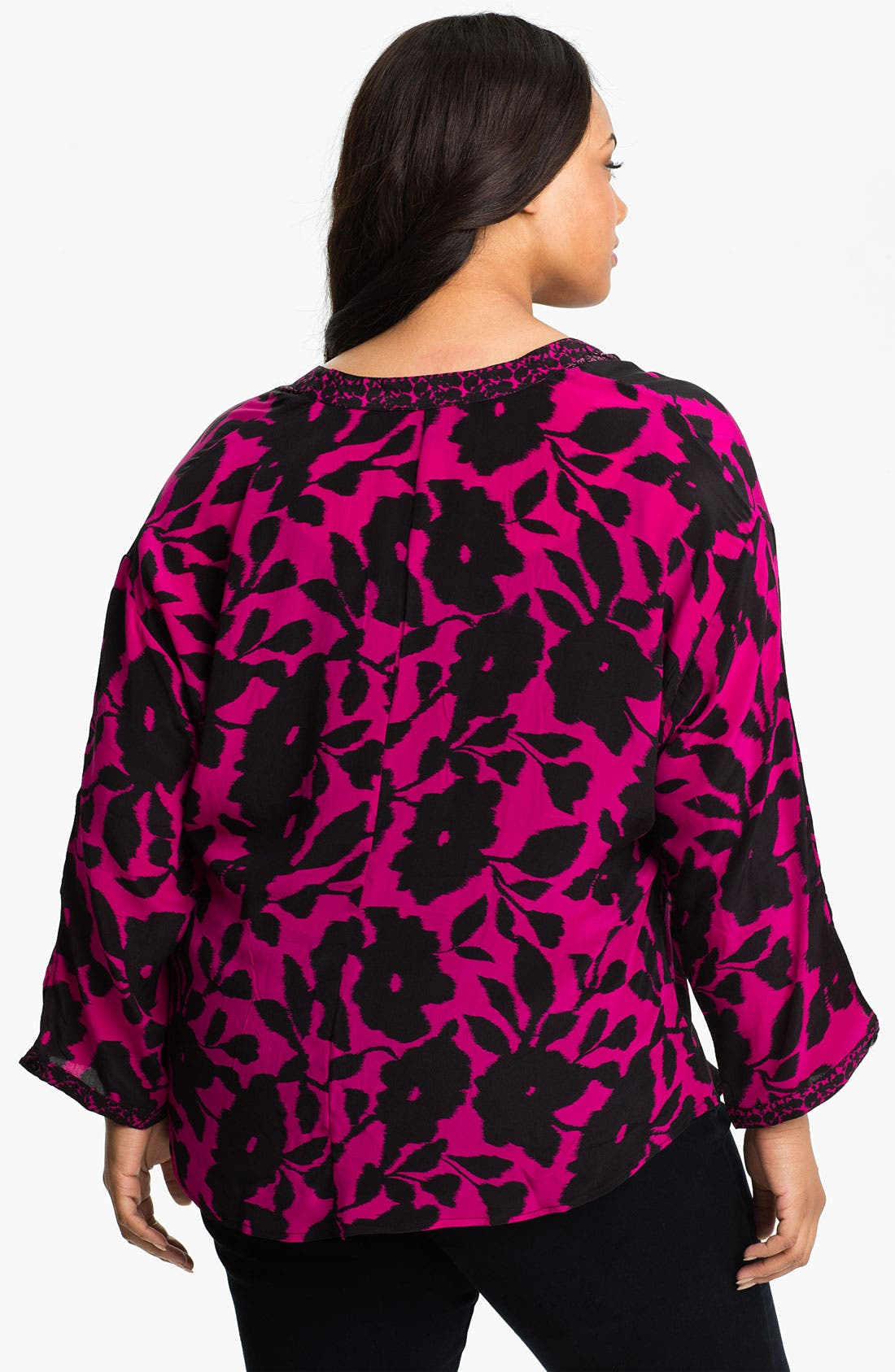 Alternate Image 2  - Tolani 'Anyra' Silk Tunic (Plus Size) (Online Only)