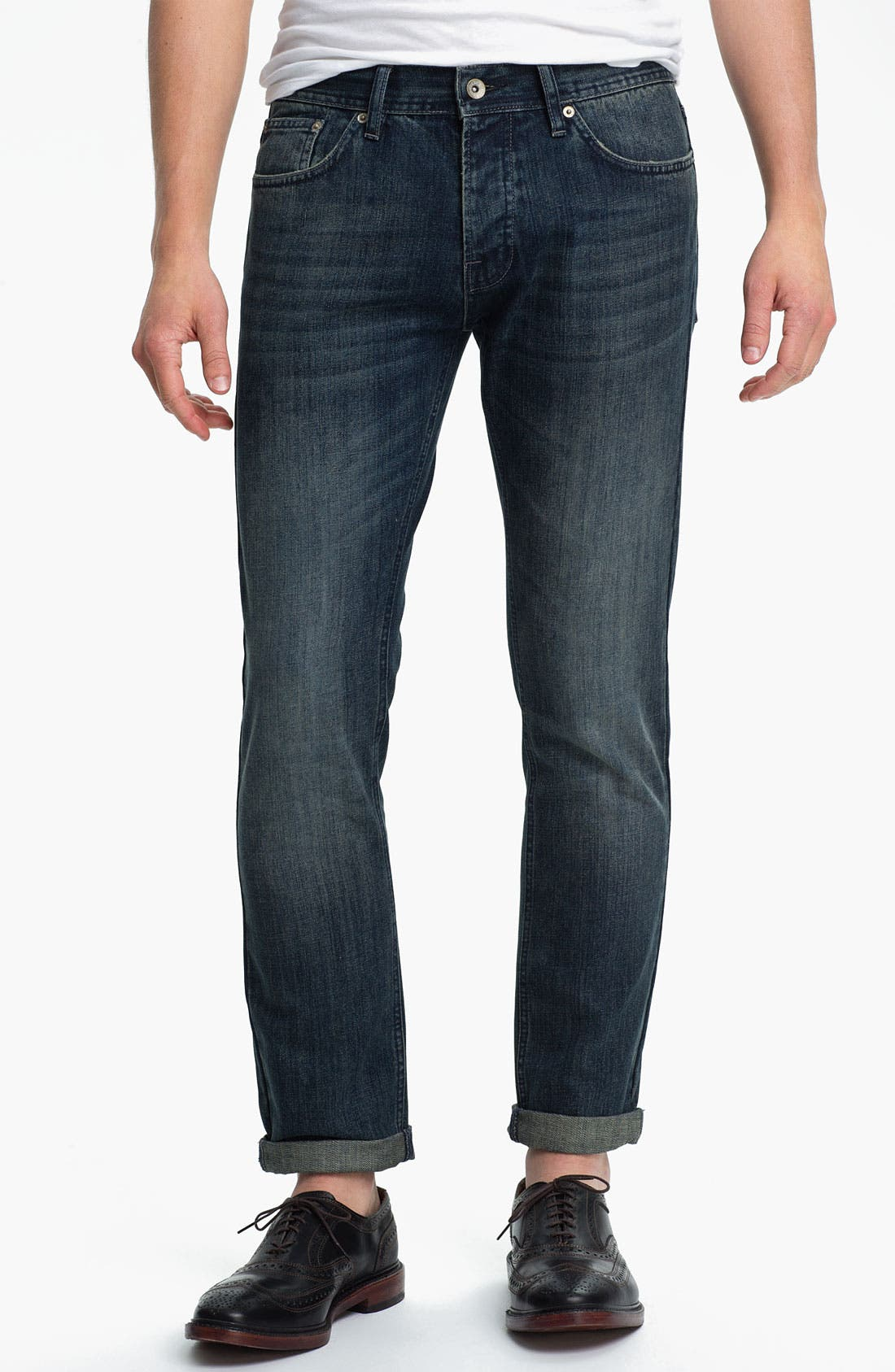 Alternate Image 1 Selected - Topman Skinny Fit Jeans (Dark Blue)