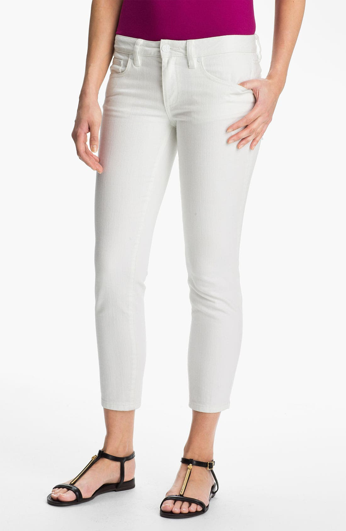 Main Image - Tory Burch 'Alexa' Crop Skinny Stretch Jeans (Stone)