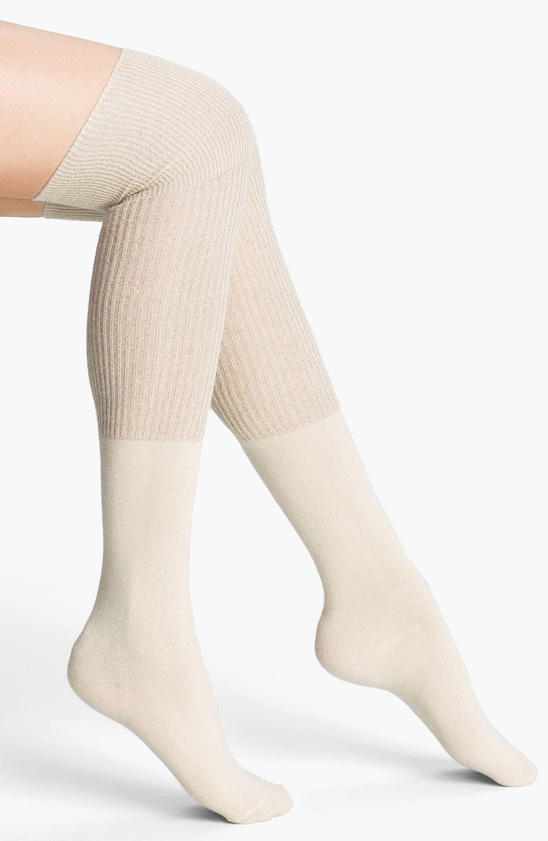 Alternate Image 1 Selected - kate spade new york ribbed colorblock over the knee socks