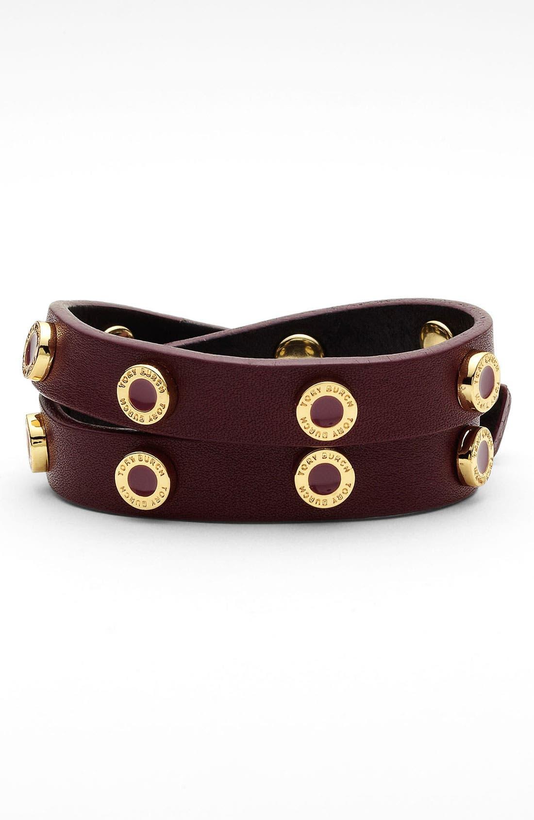 Main Image - Tory Burch 'Cole' Logo Double Wrap Bracelet