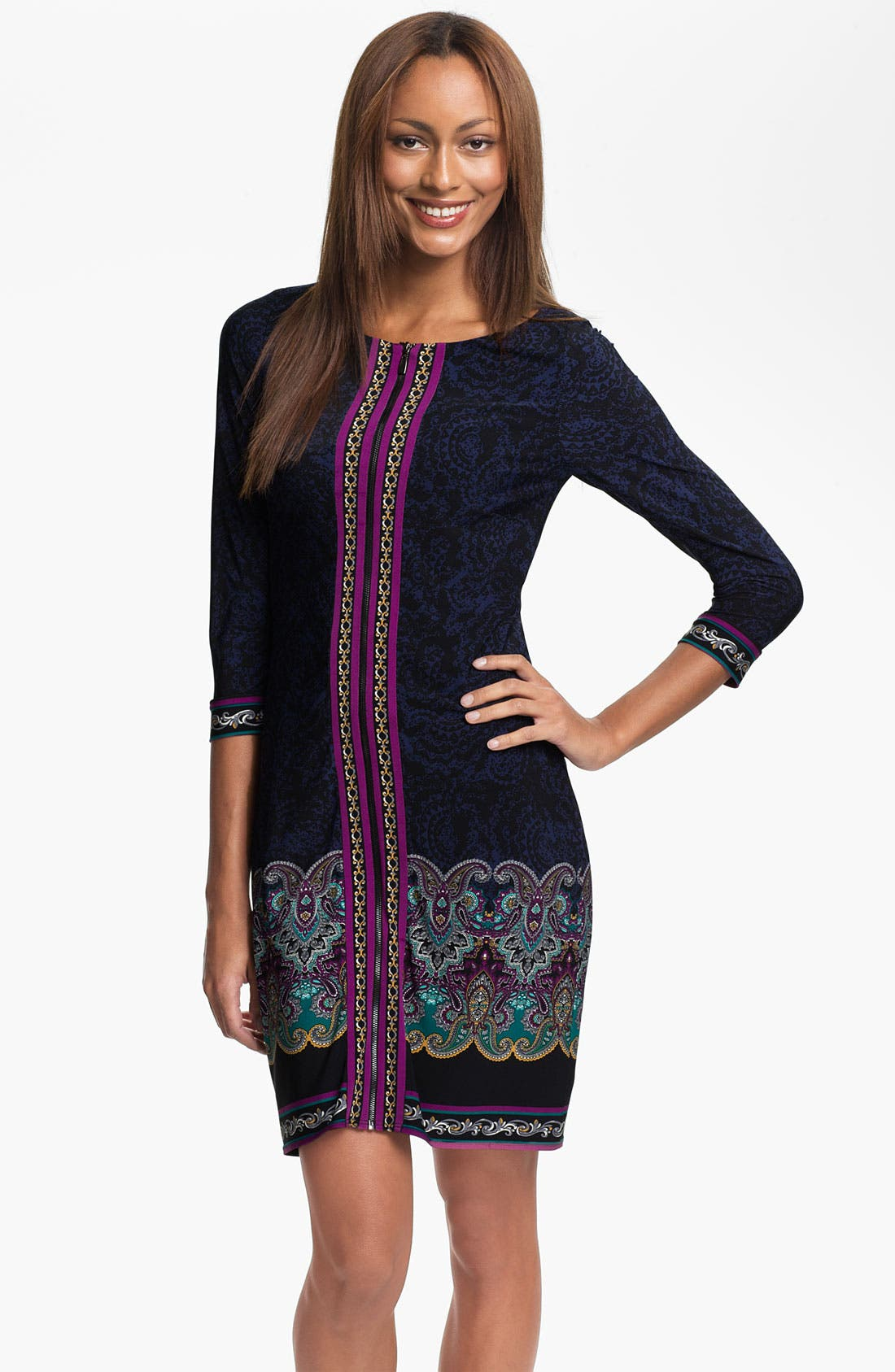 Alternate Image 1 Selected - Laundry by Shelli Segal Zip Front Paisley Print Jersey Dress