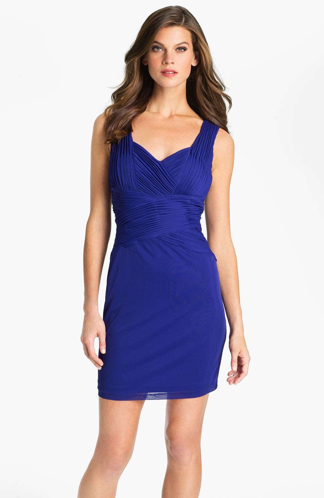 Main Image - Hailey by Adrianna Papell Back Cutout Pleated Mesh Dress