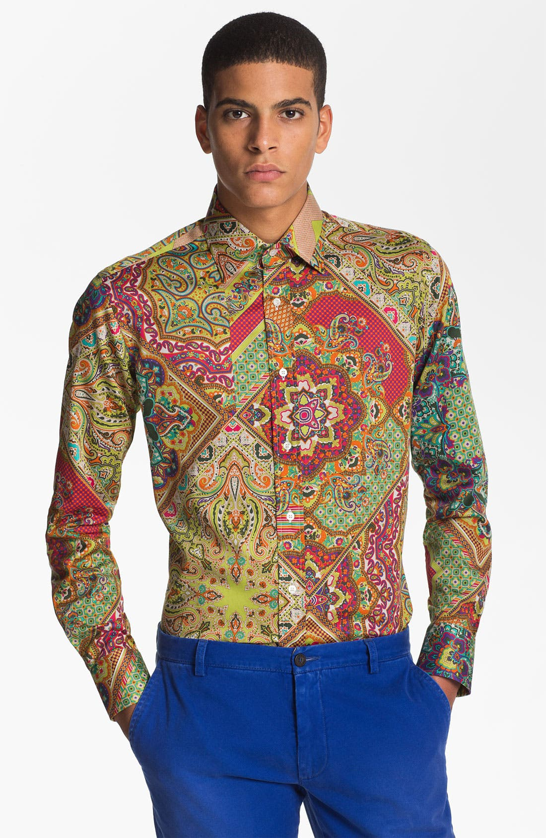 Alternate Image 1 Selected - Etro Patchwork Woven Shirt