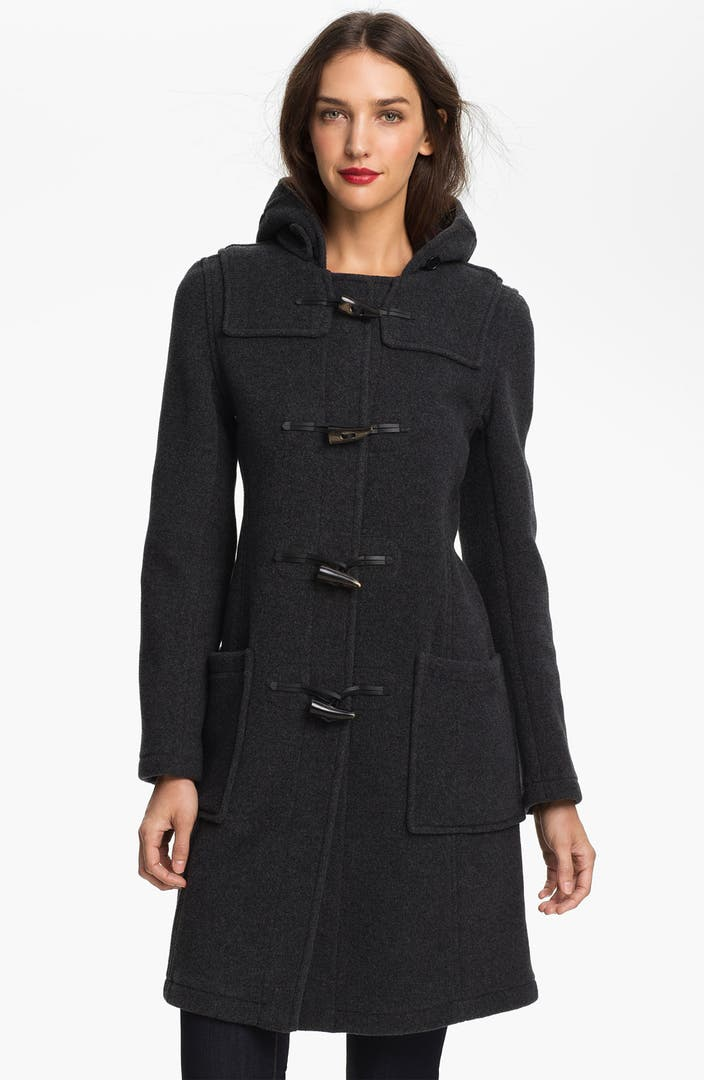 Gloverall Exclusive Slim Fit Duffle Coat with Plaid Lining - Navy LINKSHARE