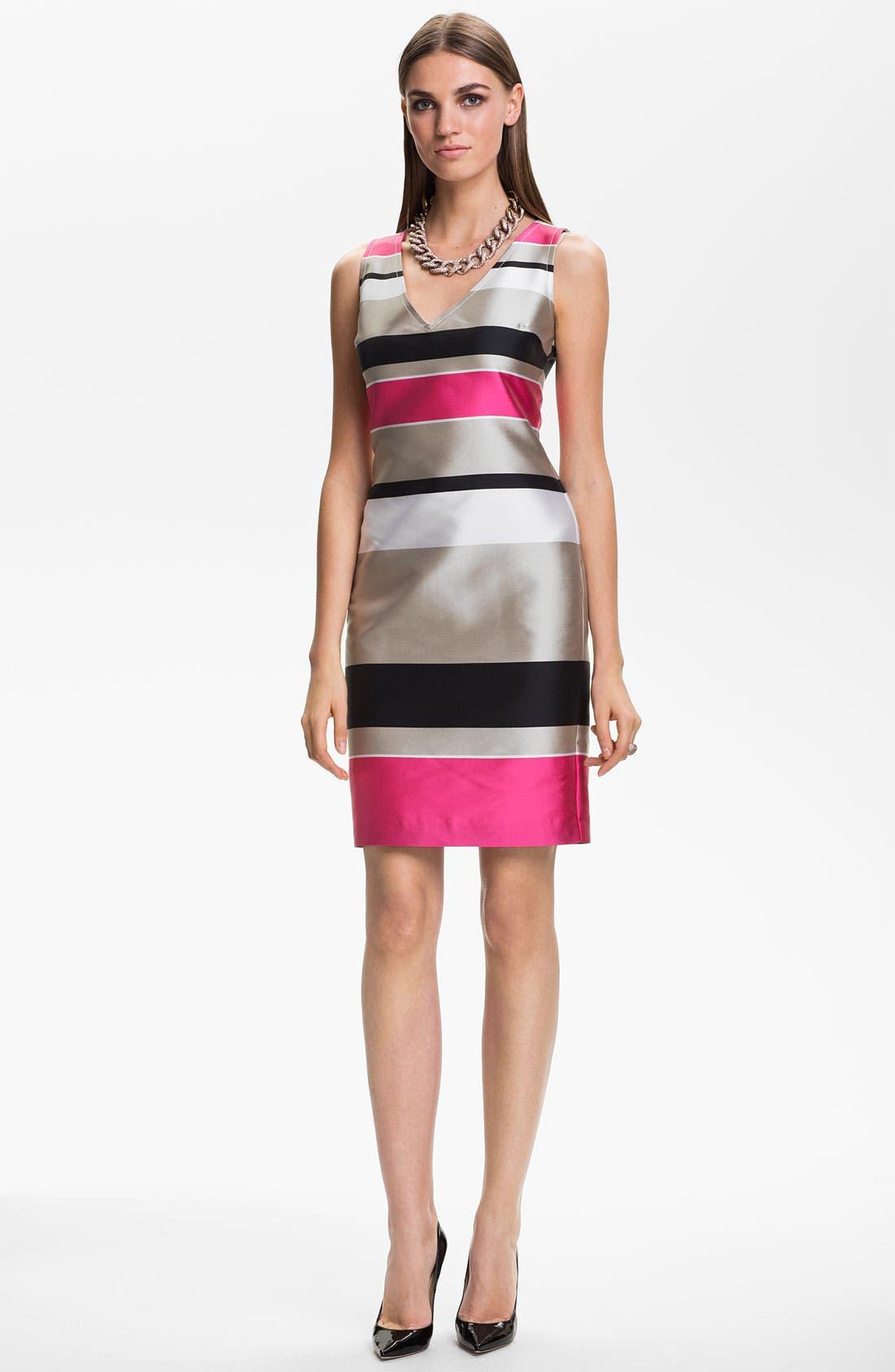 Main Image - St. John Collection Stripe Mikado Dress