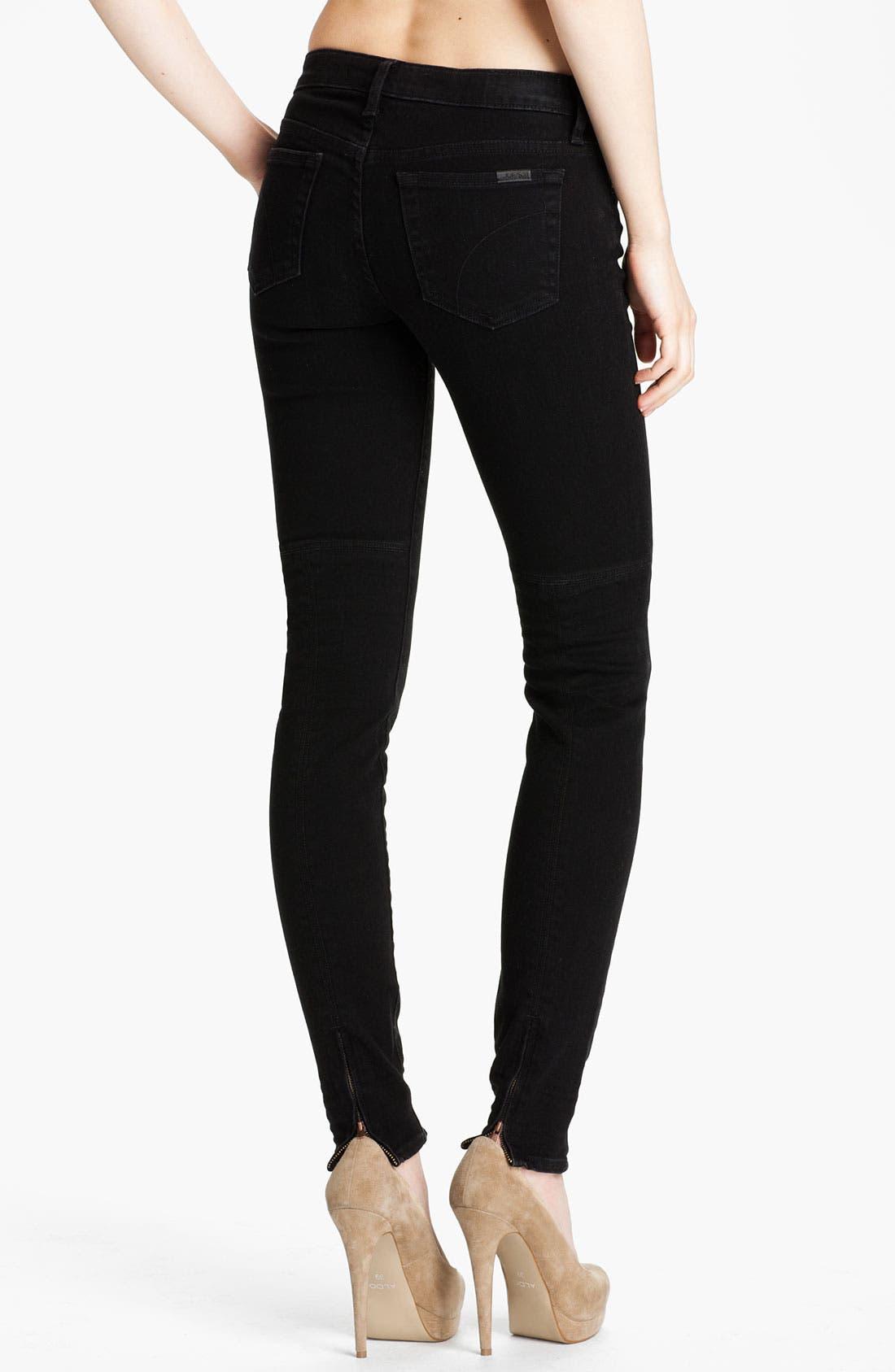 Alternate Image 2  - Joe's Ankle Zip Skinny Jeans (Norah Black)