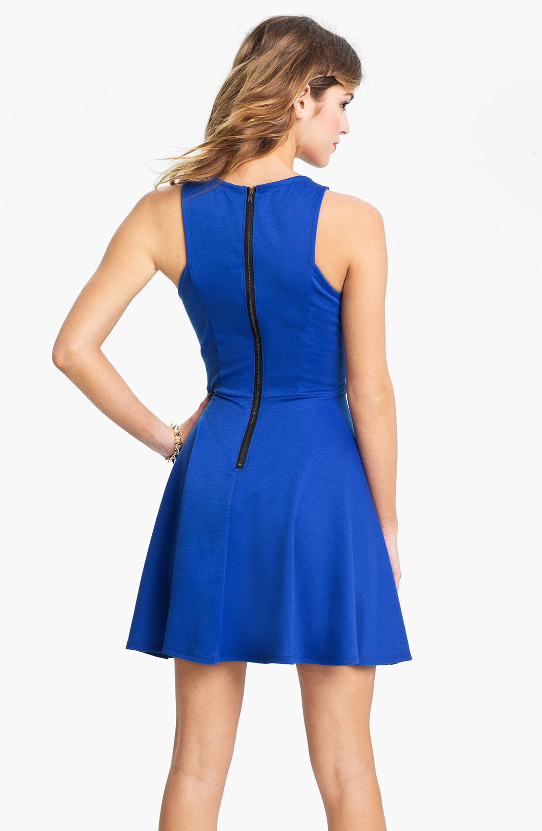 Alternate Image 2  - Lush Stud Neck Skater Dress (Juniors)