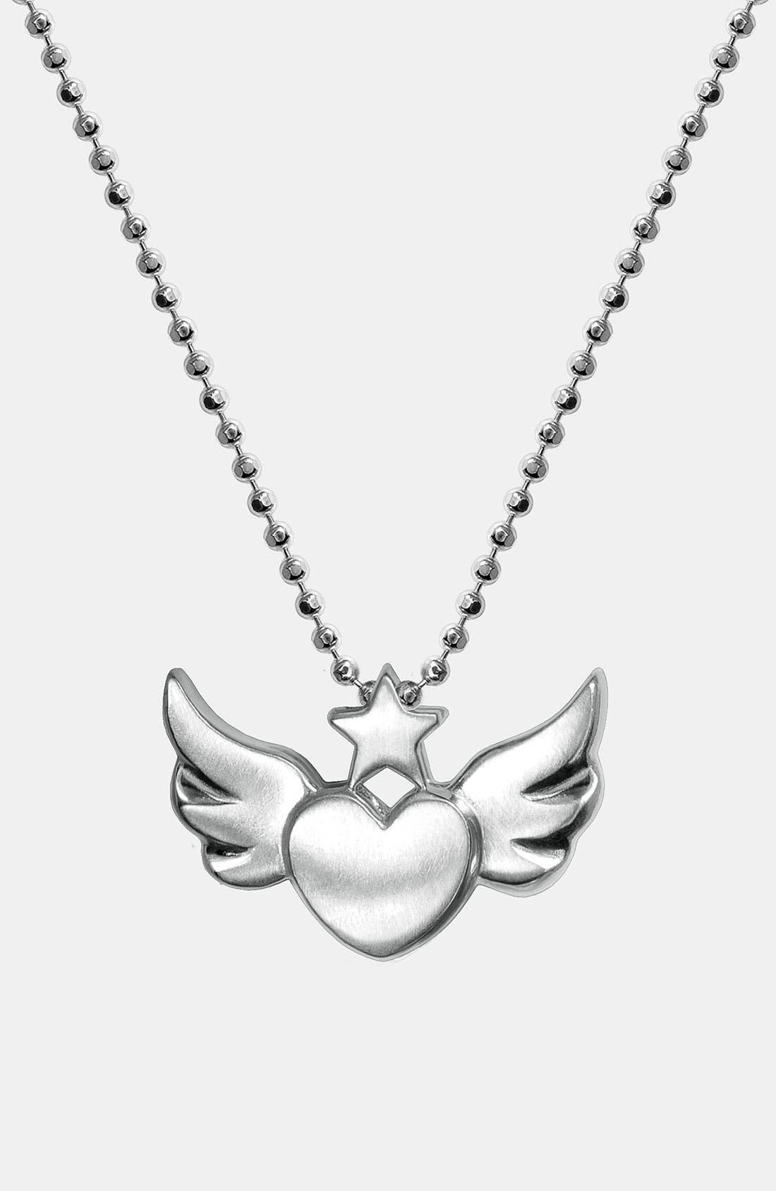 Alternate Image 1 Selected - Alex Woo 'Little Rock Star' Heart & Wings Pendant Necklace