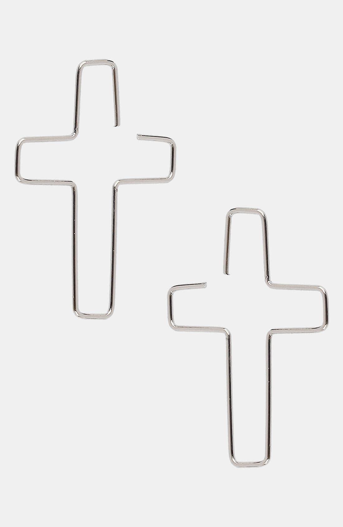 Main Image - Topman 'Parrell' Cross Loop Earrings