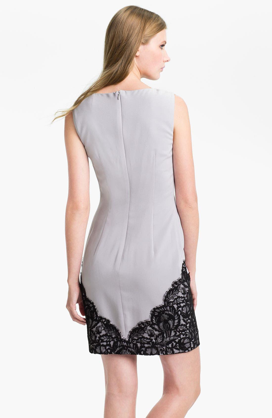 Alternate Image 2  - Nicole Miller Sleeveless Lace Trim Sheath Dress