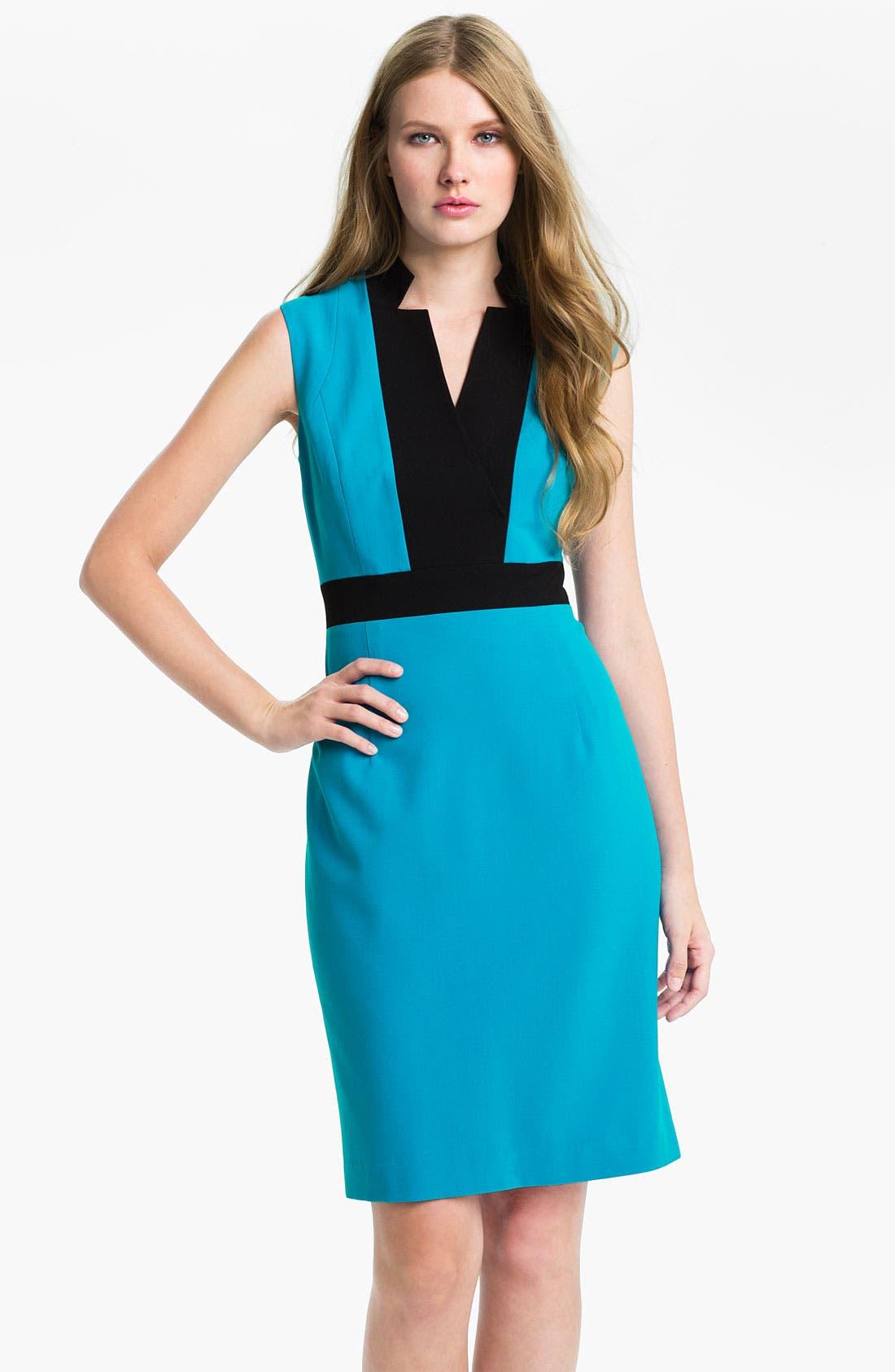 Alternate Image 1 Selected - Calvin Klein Colorblock Sleeveless Sheath Dress