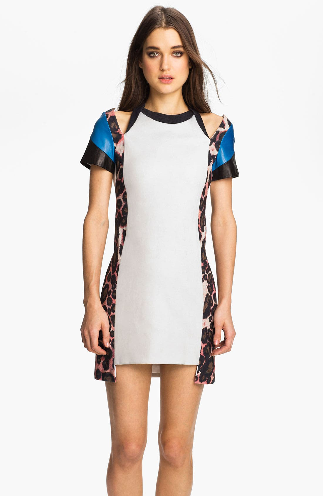 Main Image - Rebecca Minkoff 'Abby' Leather Trim Mixed Media Dress