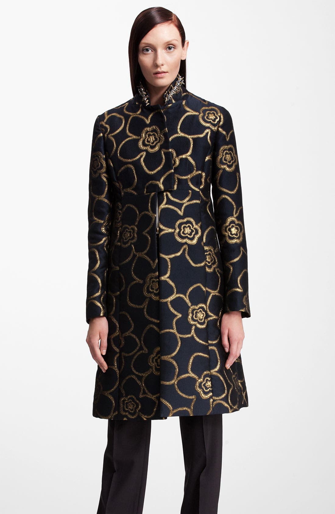 Main Image - Marni Jewel Collar Metallic Jacquard Coat