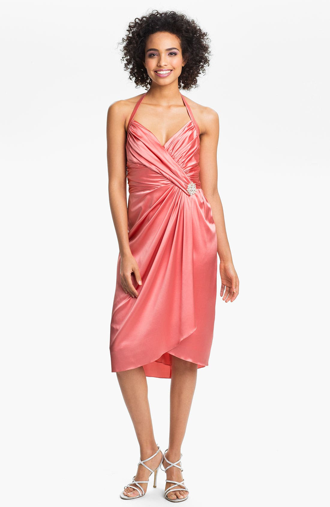 Alternate Image 1 Selected - Suzi Chin for Maggy Boutique Ruched Charmeuse Halter Dress