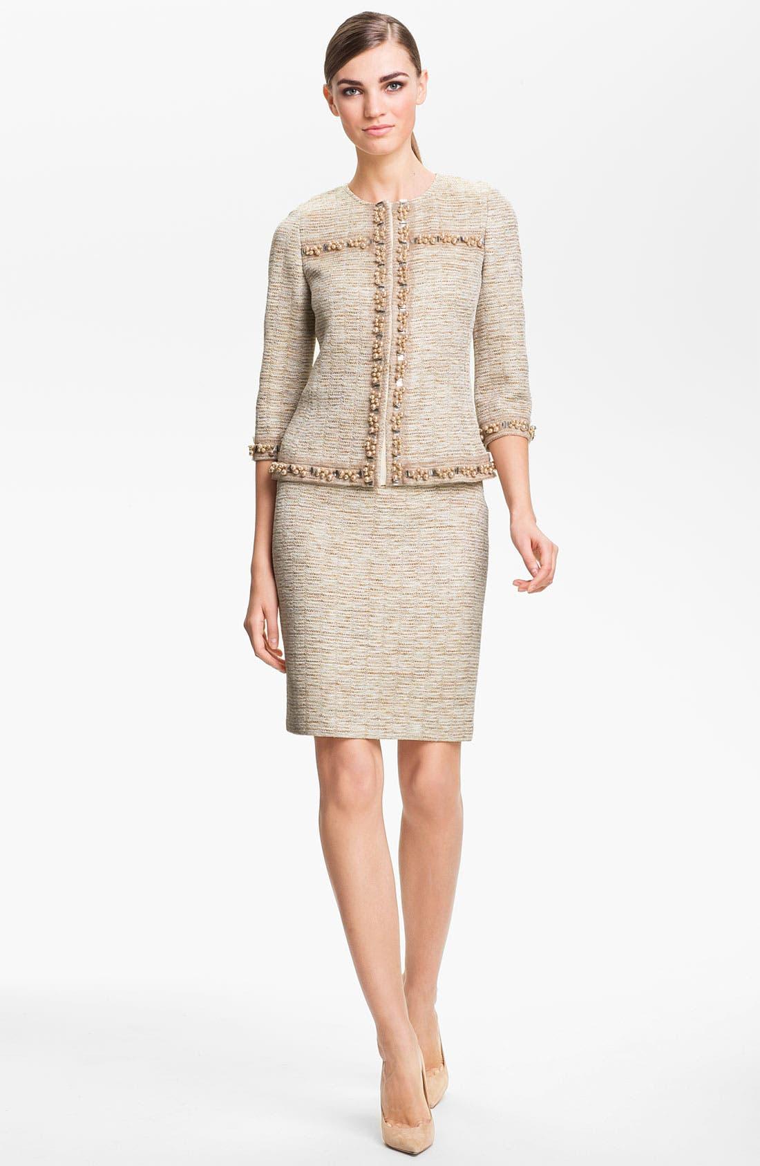 Alternate Image 2  - St. John Collection Shimmer Knit Pencil Skirt