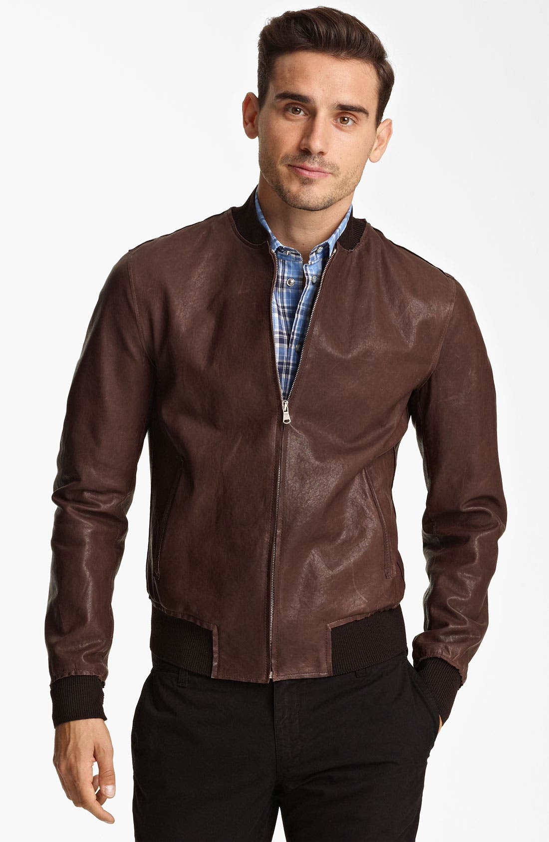 Alternate Image 1 Selected - Dolce&Gabbana Leather Bomber Jacket