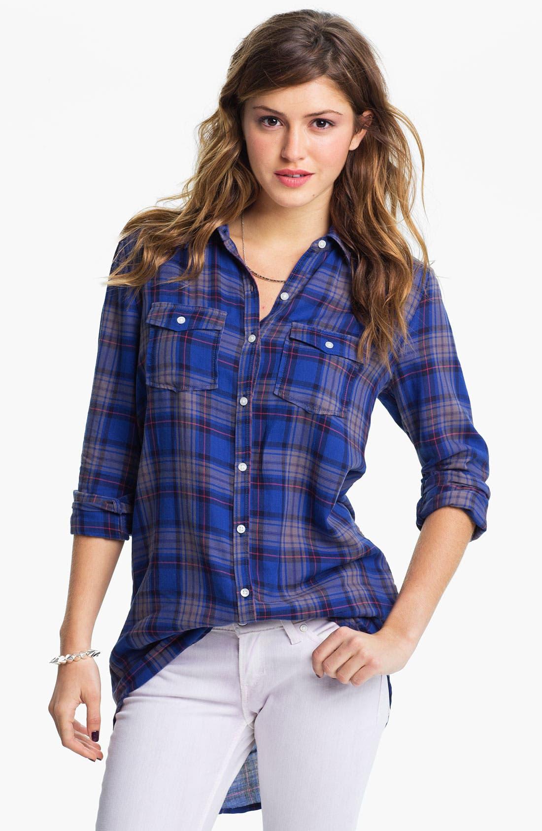 Alternate Image 1 Selected - Rubbish® Plaid Shirt Tunic (Juniors)