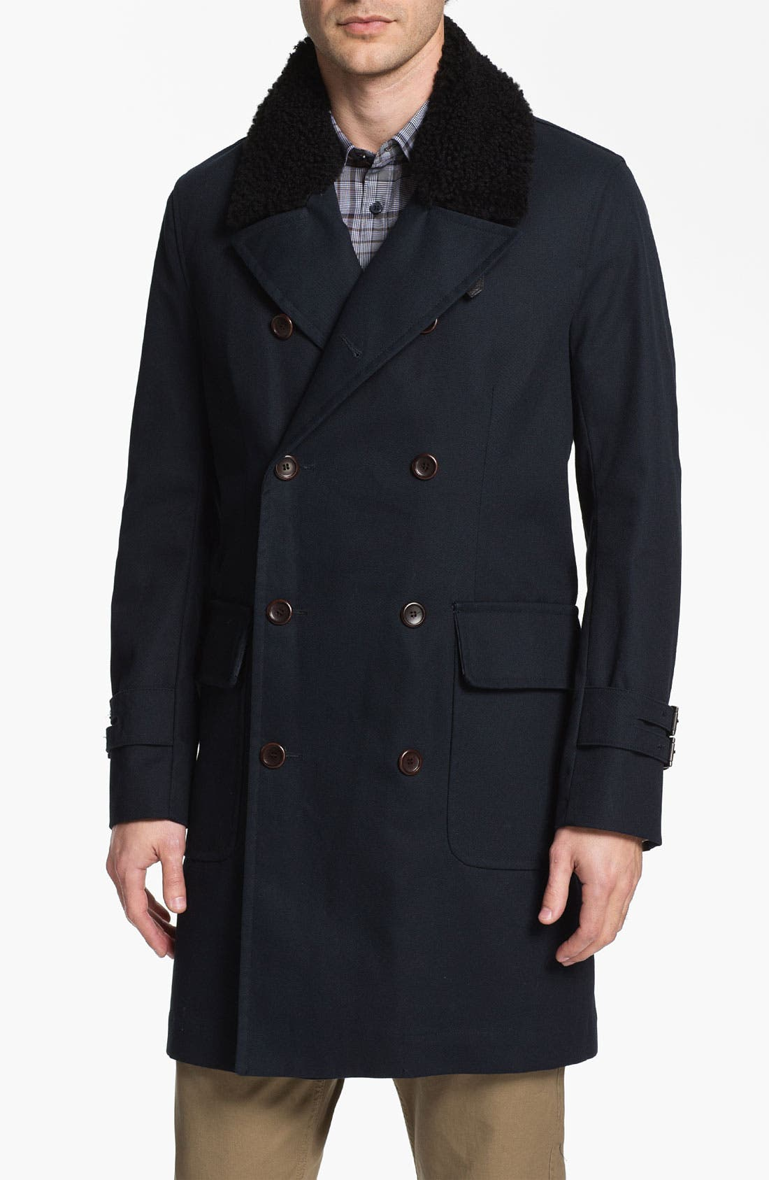 Main Image - PLECTRUM by Ben Sherman Double Breasted Overcoat