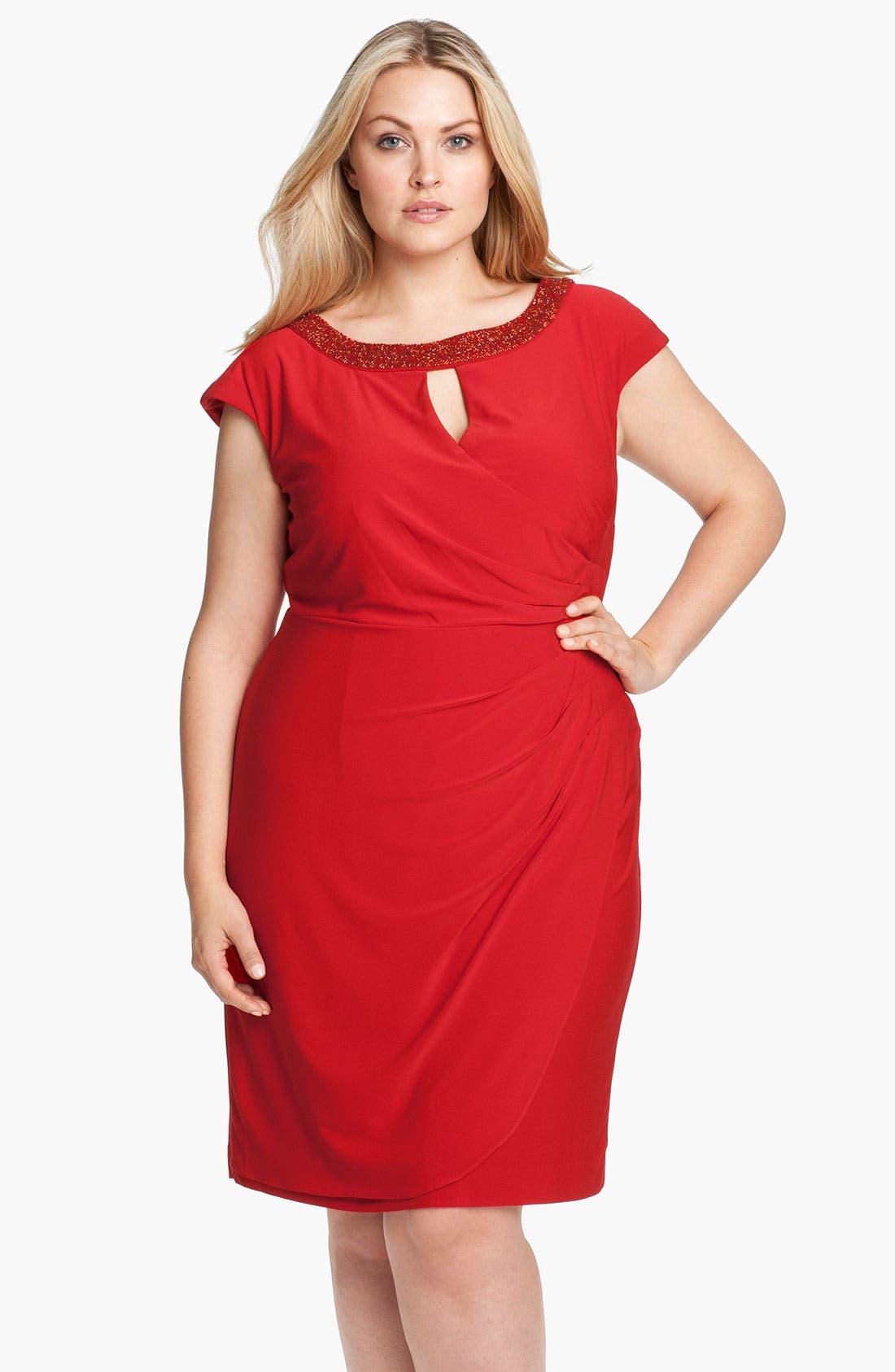 Main Image - Alex Evenings Beaded Matte Jersey Sheath Dress (Plus Size)