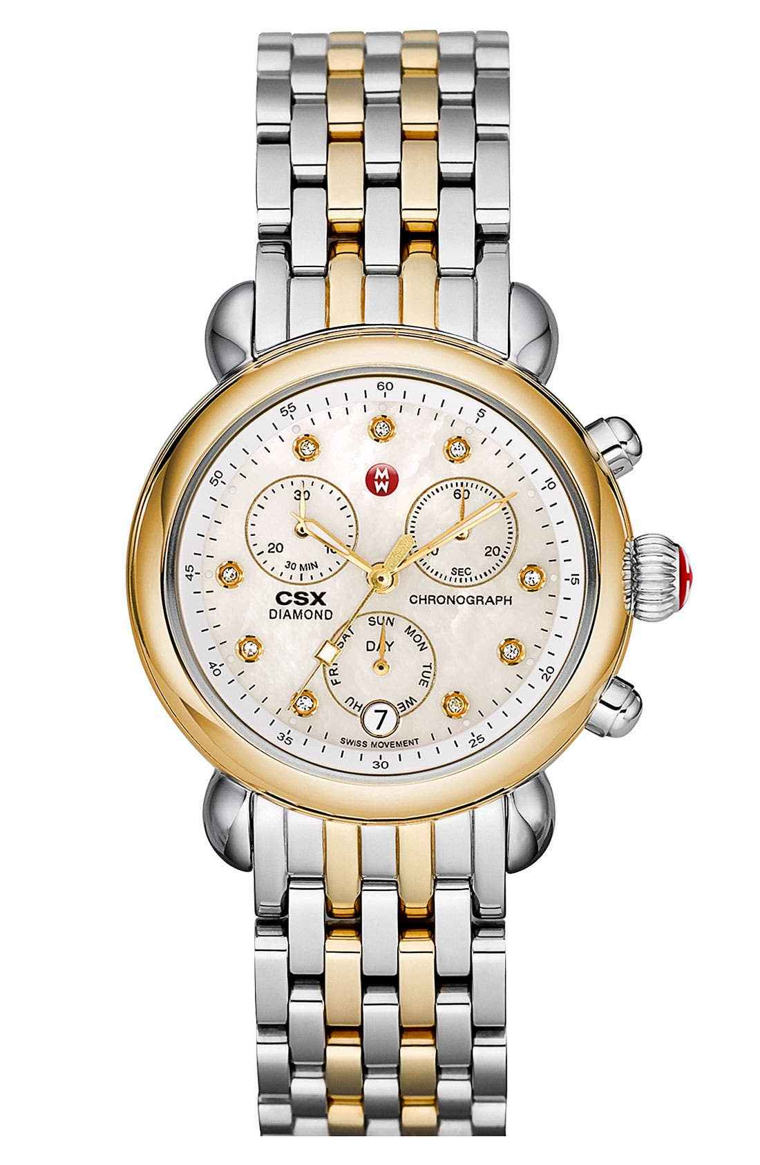 Alternate Image 2  - MICHELE 'CSX-36' Diamond Dial Two-Tone Watch Case, 36mm