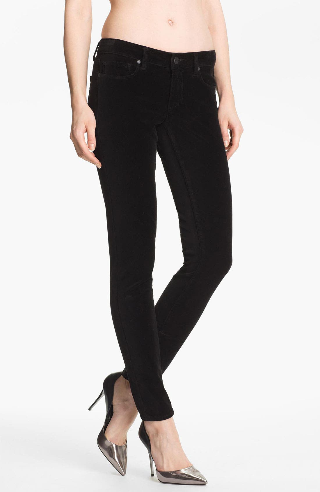 Alternate Image 1 Selected - Paige Denim 'Verdugo' Stretch Velvet Skinny Pants (Black)