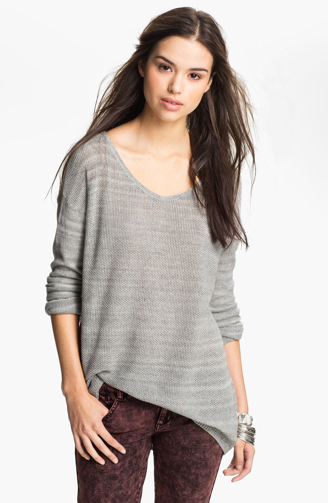 Alternate Image 1 Selected - Rubbish® Knit Oversized Sweater (Juniors)