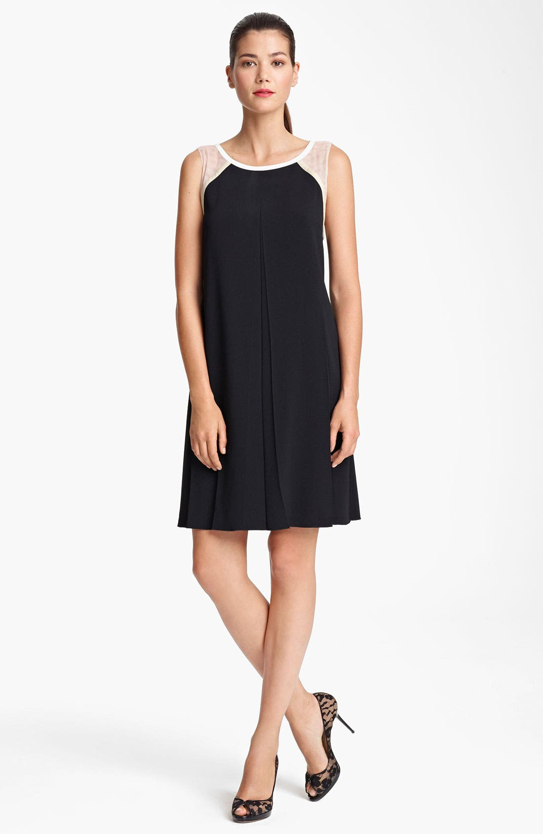 Main Image - Piazza Sempione Mesh Inset Crepe Dress