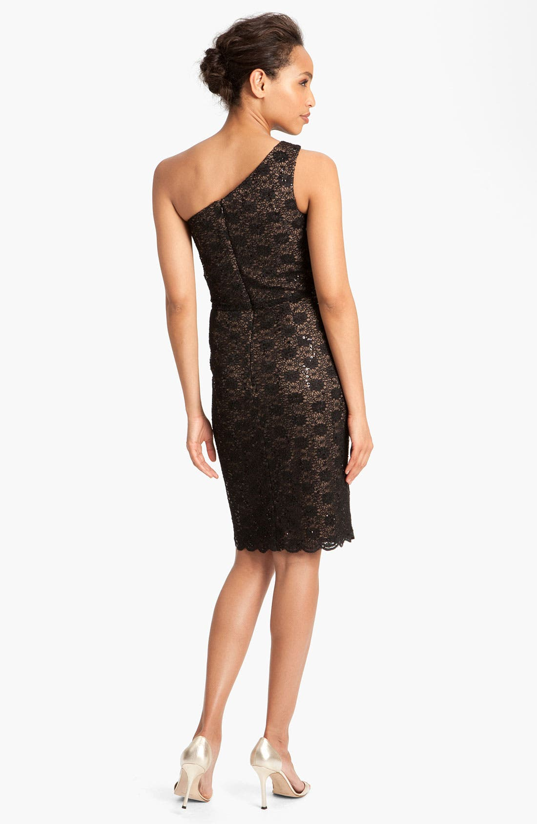 Alternate Image 2  - Alex Evenings One Shoulder Lace Sheath Dress (Petite)
