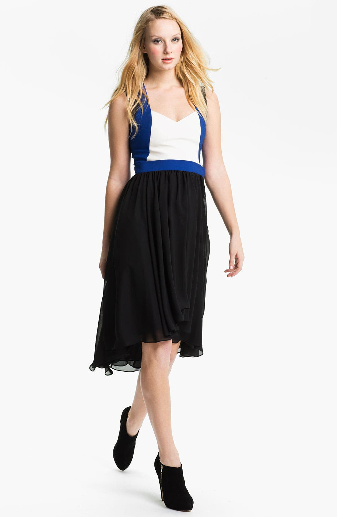 Alternate Image 1 Selected - Black Halo High/Low Chiffon Fit & Flare Dress