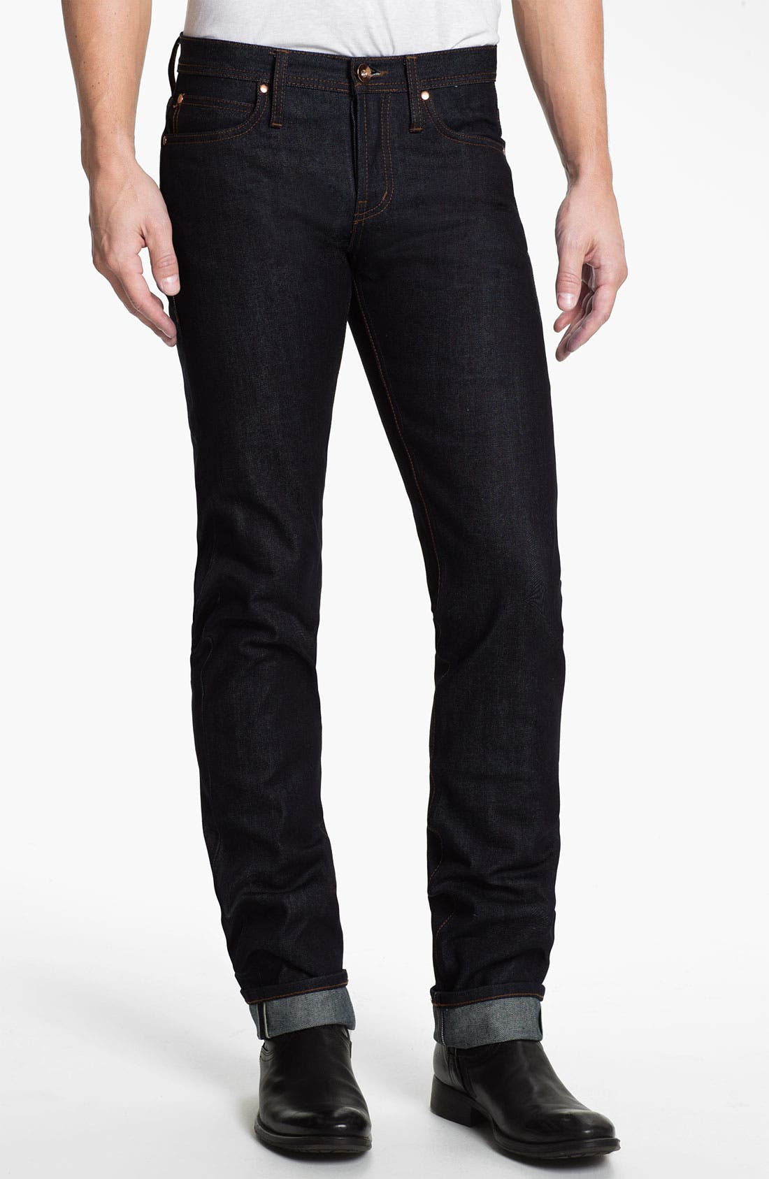 Alternate Image 1 Selected - The Unbranded Brand UB101 Skinny Fit Raw Selvedge Jeans (Indigo)