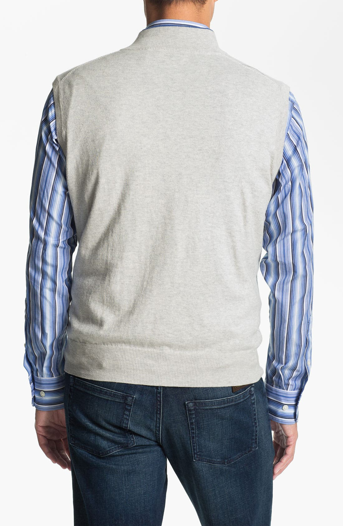 Alternate Image 2  - Peter Millar Quarter Zip Cotton & Cashmere Sweater Vest