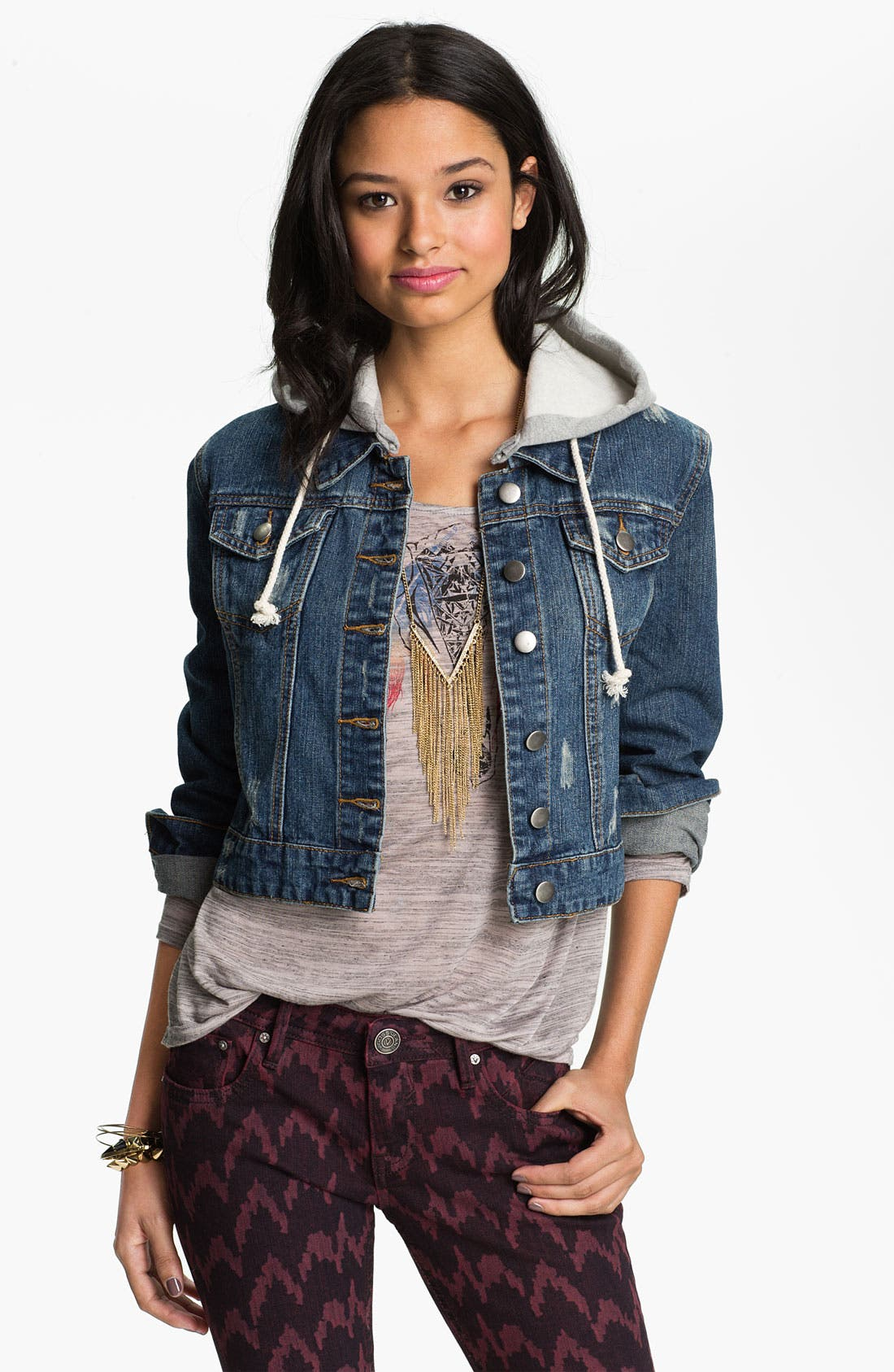 Alternate Image 1 Selected - Thread & Supply Hooded Denim Jacket (Juniors)