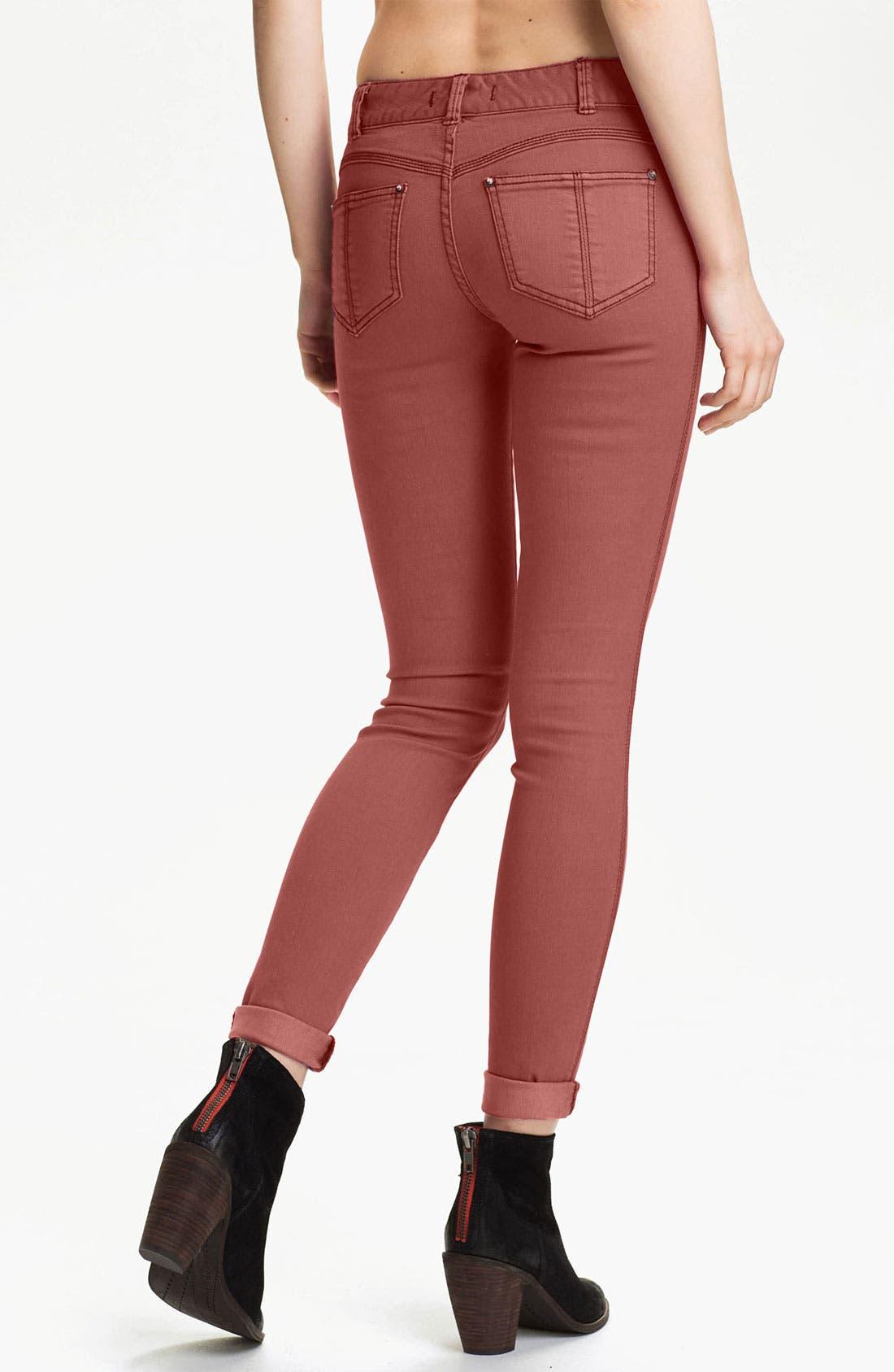 Alternate Image 2  - Free People Colored Stretch Denim Skinny Jeans (Maroon)