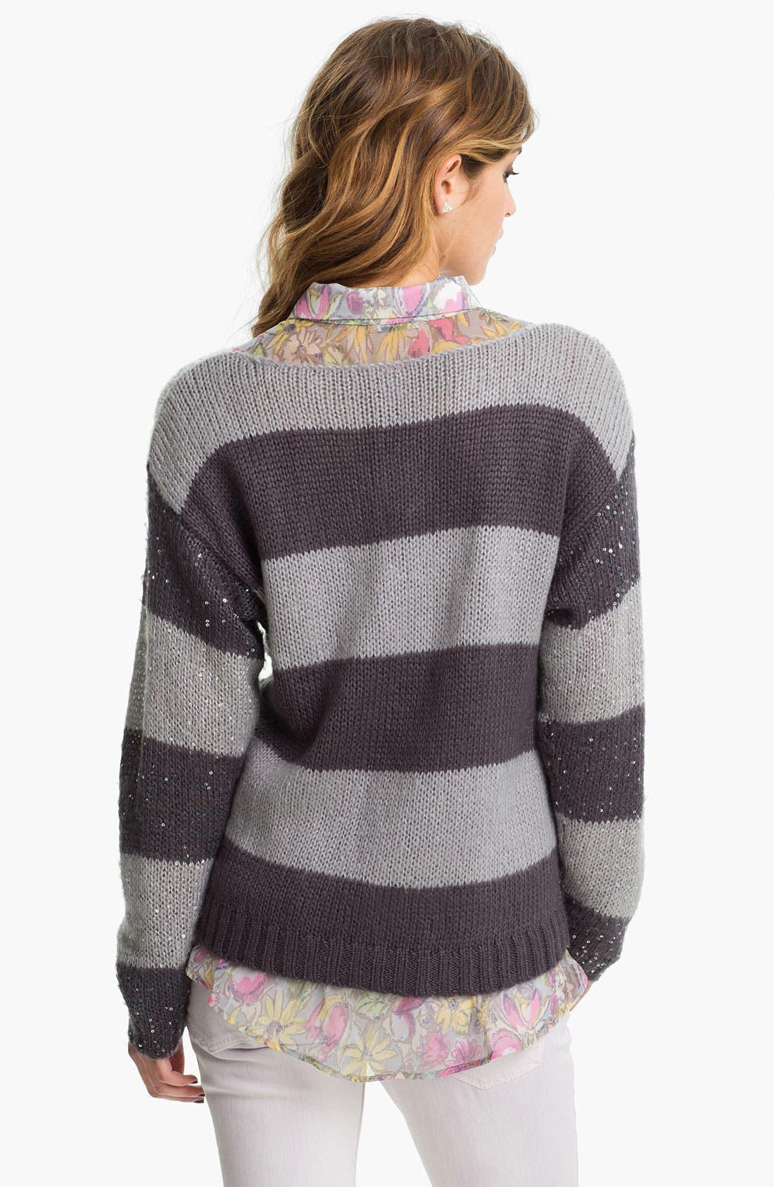 Alternate Image 2  - Love on a Hanger 'Stripe and Shine' Sweater (Juniors)
