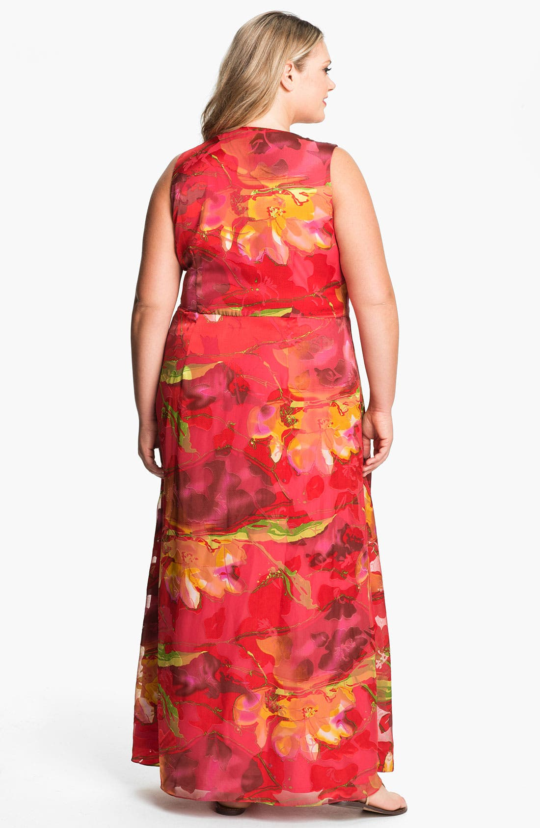 Alternate Image 2  - Donna Ricco Faux Wrap Maxi Dress (Plus Size)