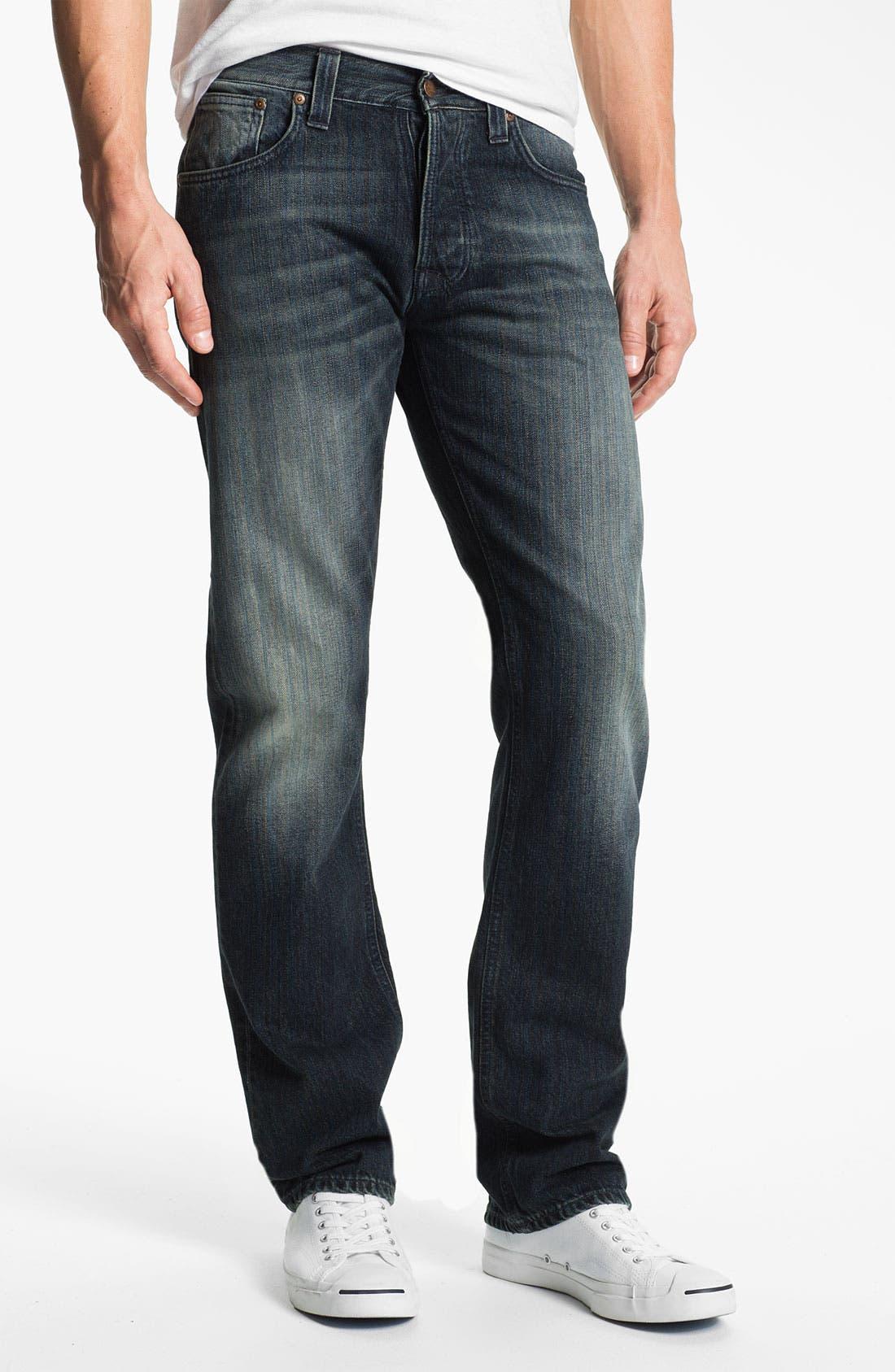 Alternate Image 2  - Nudie 'Average Joe' Straight Leg Jeans (Organic Black and Blue)
